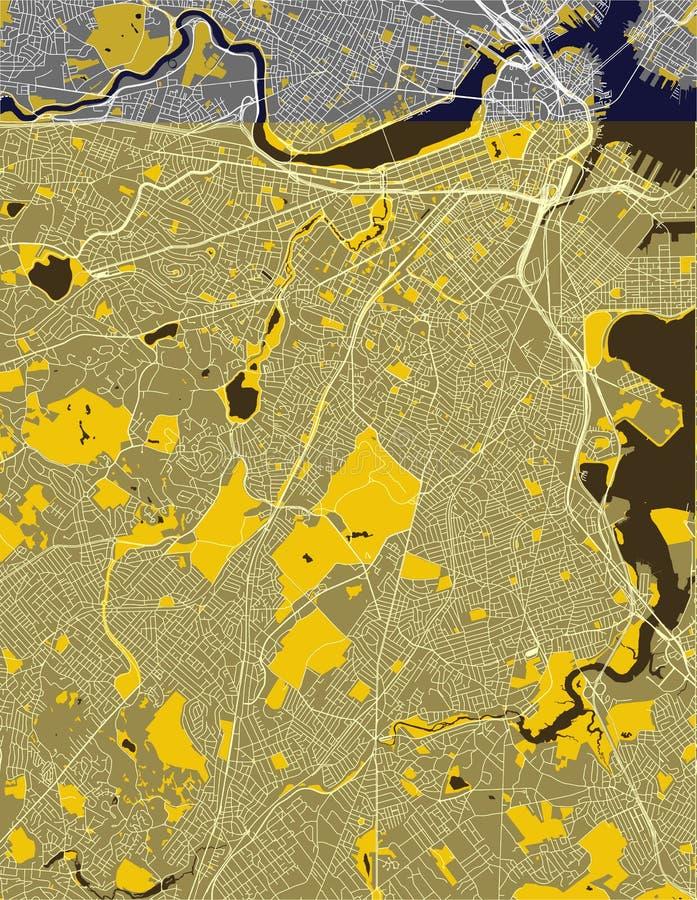 市的地图波士顿,美国 库存照片
