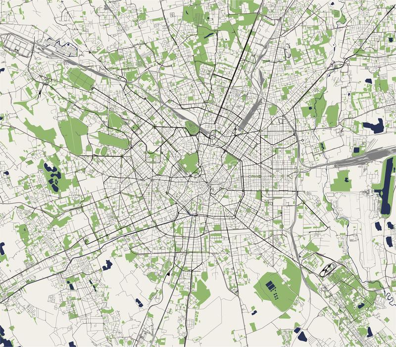 市的地图米兰,伦巴第,意大利的首都 向量例证
