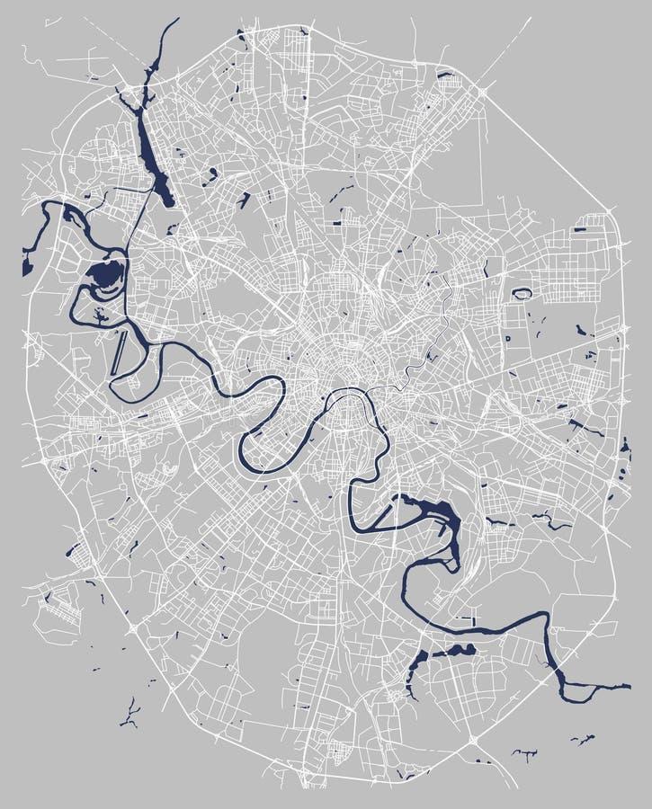 市的地图莫斯科,俄罗斯 向量例证