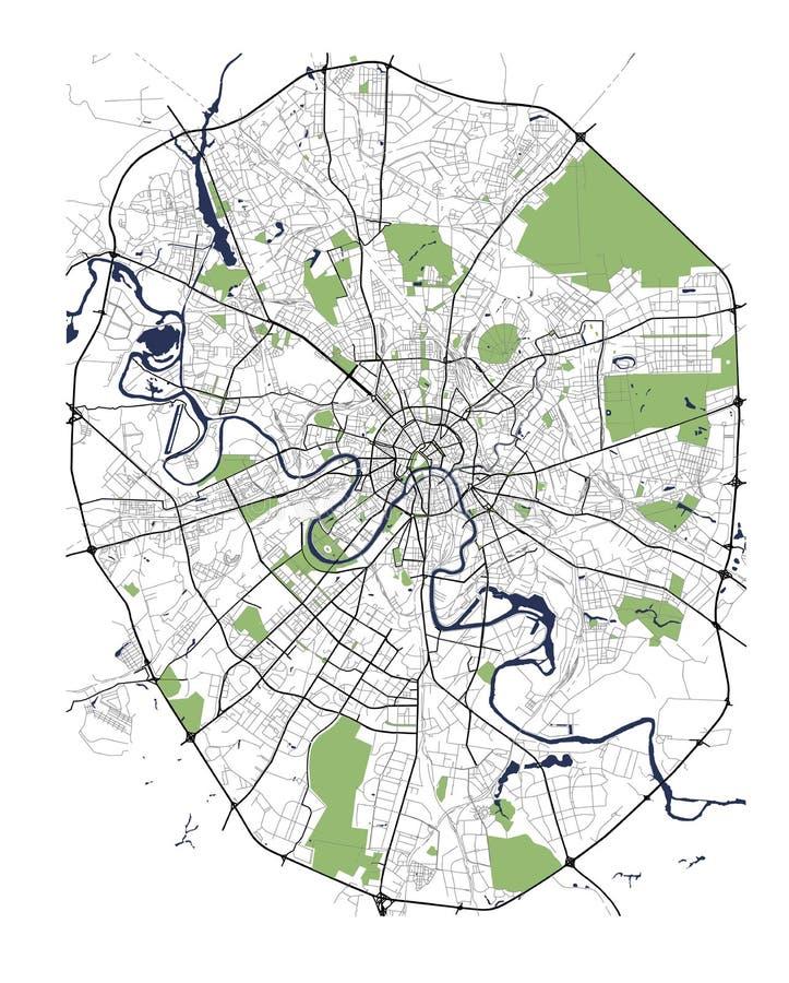 市的地图莫斯科,俄罗斯 库存例证