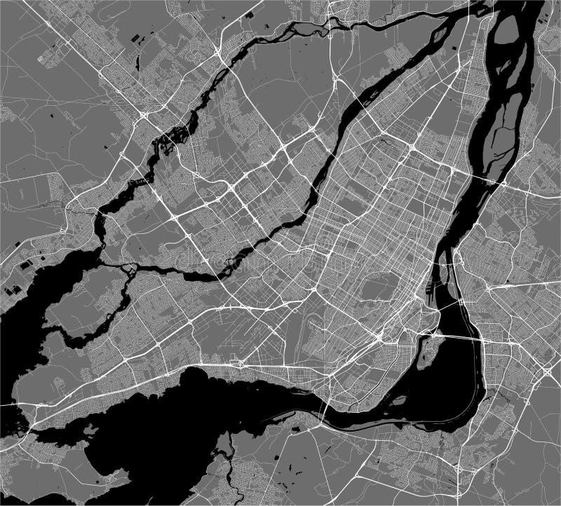 市的地图蒙特利尔,加拿大 库存例证