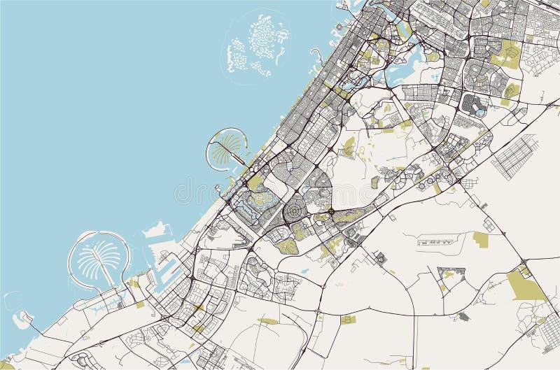 市的地图迪拜,阿联酋阿拉伯联合酋长国 库存例证