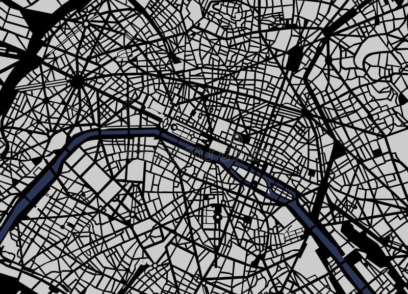市的地图巴黎,法国 向量例证