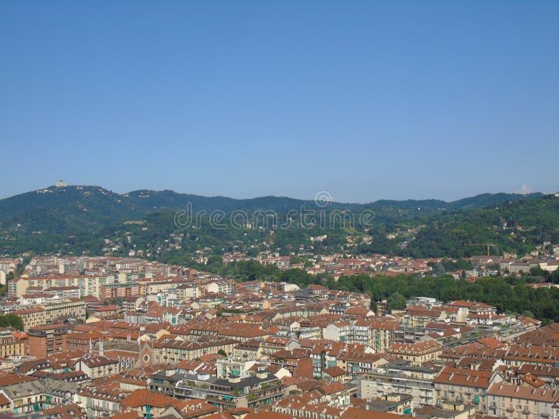 市的惊人的摄影从意大利的都灵在夏日 免版税库存照片