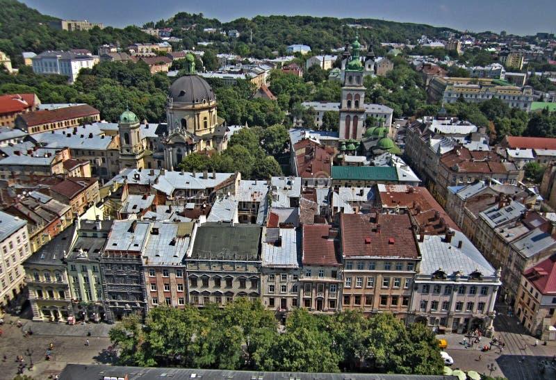 市的看法利沃夫州从上面 免版税图库摄影