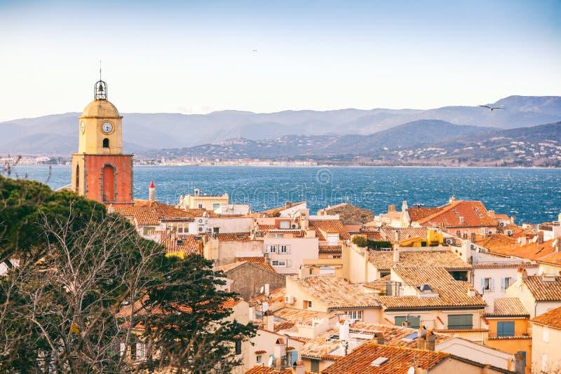 市的看法圣特罗佩,普罗旺斯,彻特d ` Azur, popul 图库摄影