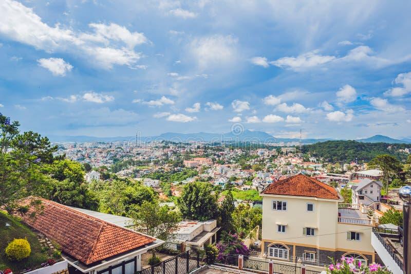 市的看法大叻,越南 旅途通过亚洲概念 免版税图库摄影