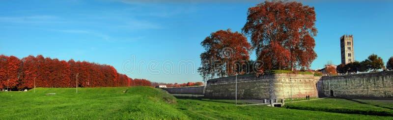 市的老墙壁Lucca,意大利 免版税库存照片