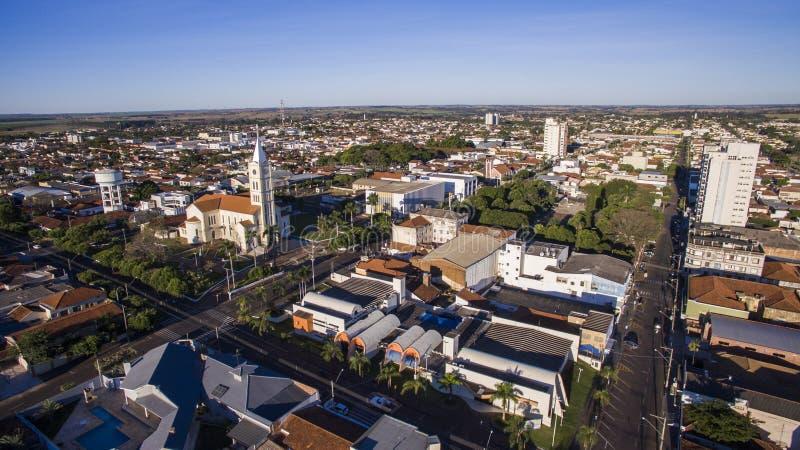 市的鸟瞰图圣保罗状态的Andradina在Brazi 库存图片