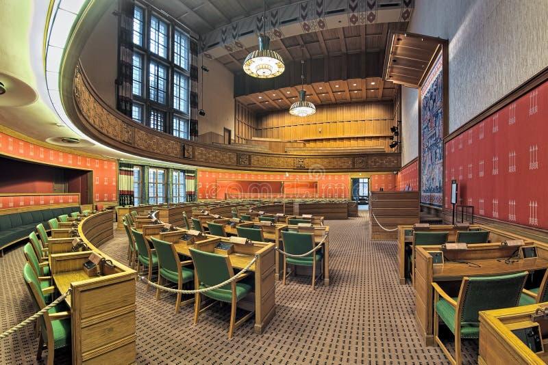 市议会房间在奥斯陆香港大会堂,挪威 图库摄影