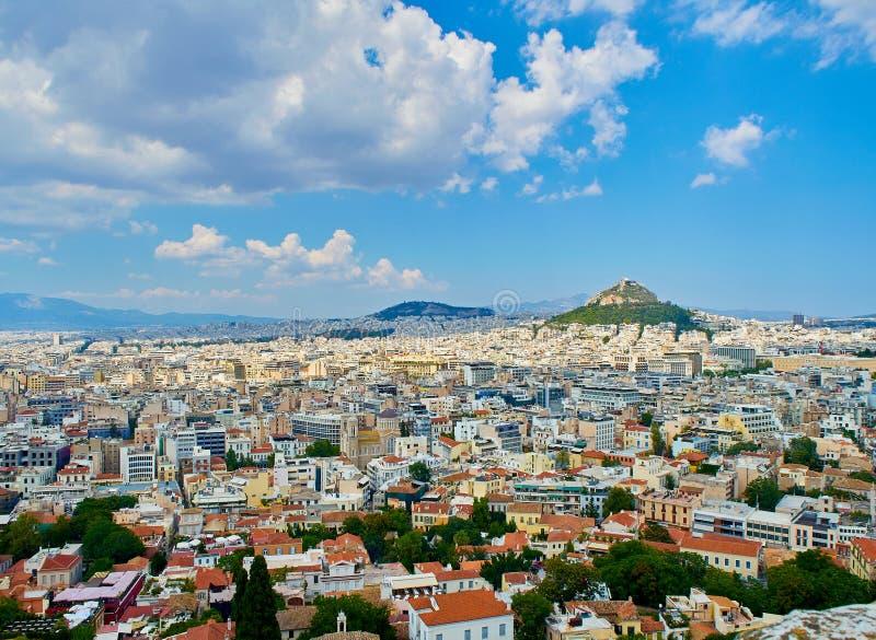 市雅典 看法从上城观点 Attica,希腊 免版税库存照片