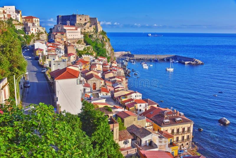 市Scilla在雷焦卡拉布里亚省,意大利 库存图片