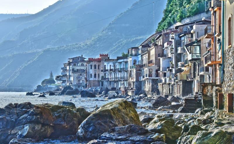 市Scilla在雷焦卡拉布里亚省,意大利 库存照片