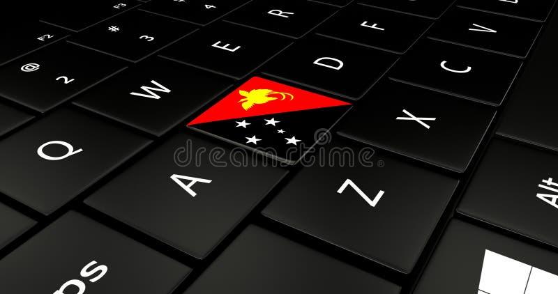 巴布亚新几内亚在膝上型计算机键盘的旗子按钮 皇族释放例证