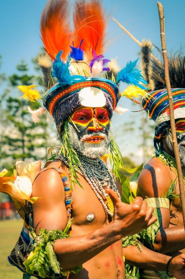 巴布亚新几内亚的五颜六色的文化 库存图片