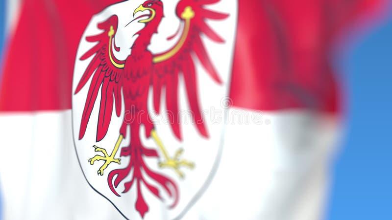 布兰登堡飞行的旗子,德国的状态 特写镜头,3D翻译 库存例证