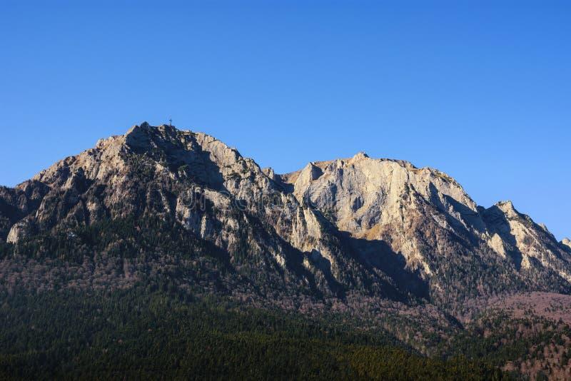 布切吉山脉和Caraiman峰顶如被看见从Cantacuzino宫殿,布什泰尼,罗马尼亚 库存照片