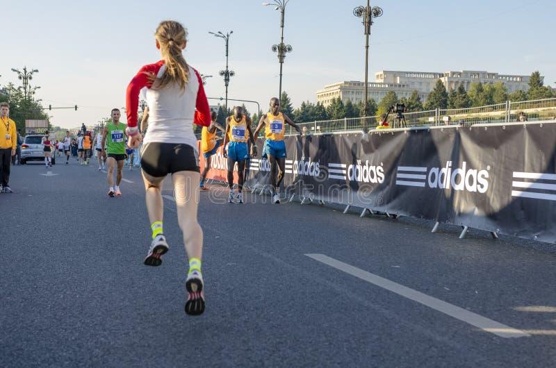 布加勒斯特国际马拉松2014年 库存照片