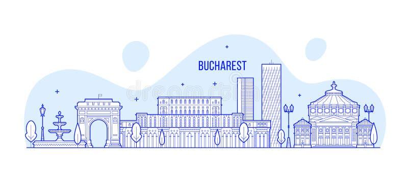 布加勒斯特地平线,罗马尼亚市大厦传染媒介 库存例证