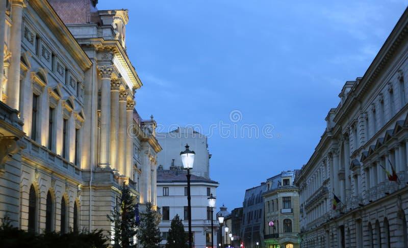 布加勒斯特老镇夜场面 库存照片