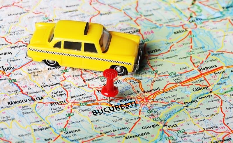 布加勒斯特,罗马尼亚地图出租汽车 免版税库存照片