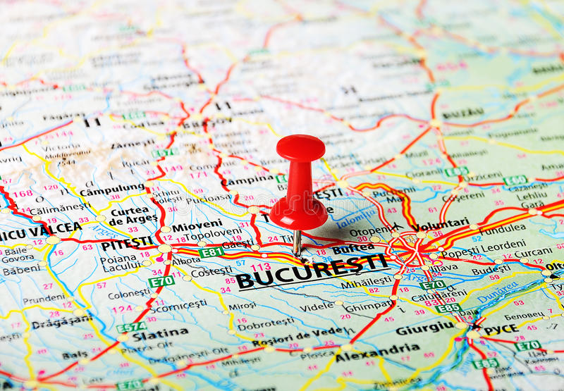 布加勒斯特,罗马尼亚地图 免版税库存照片