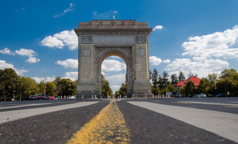 布加勒斯特,罗马尼亚, 2018年8月:Arcul de Triumf 库存照片