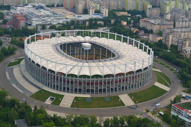布加勒斯特,罗马尼亚,2015年5月17日:全国橄榄球竞技场鸟瞰图  库存照片