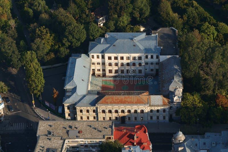 布加勒斯特,罗马尼亚, 2015年4月10日:Gheorghe Lazăr国民学院鸟瞰图  图库摄影