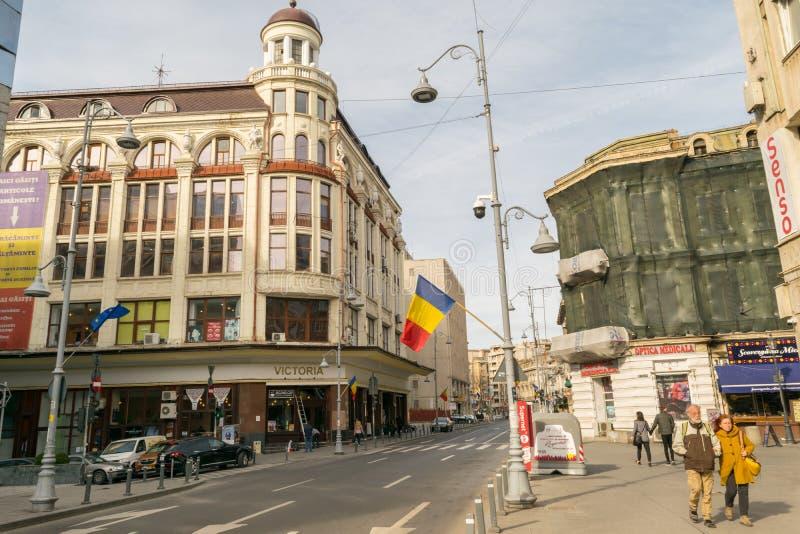 布加勒斯特,罗马尼亚- 2019年3月16日:维多利亚商店在Lipscani位于的Calea Victoriei街道上的工厂建筑物,奥尔德敦 免版税库存照片
