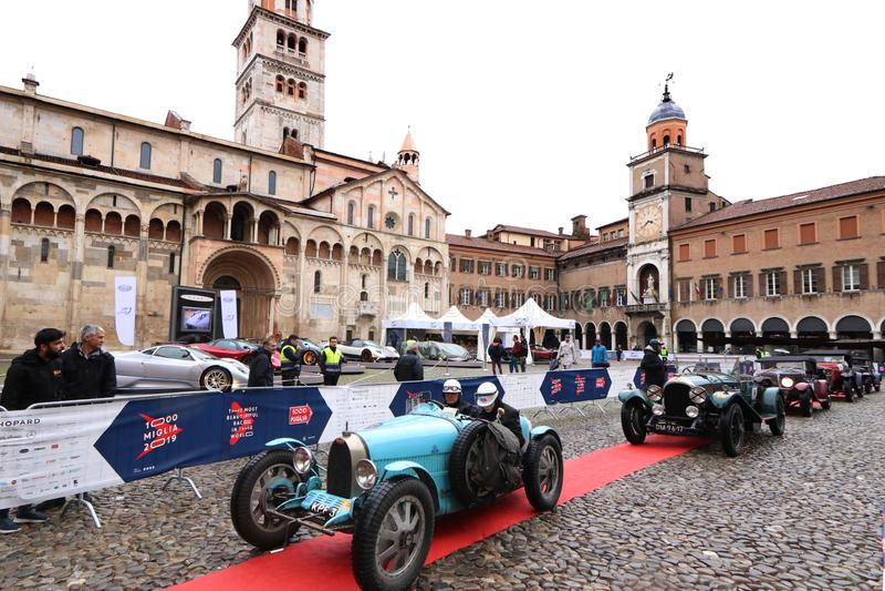 布加迪汽车,Mille Miglia,历史的赛车,摩德纳,2019年5月 免版税库存图片