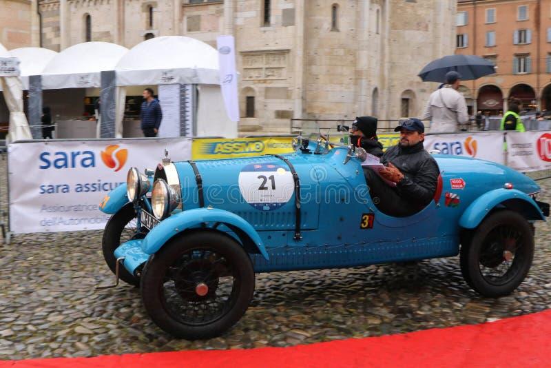 布加迪汽车,Mille Miglia,历史的赛车,摩德纳,2019年5月 库存图片