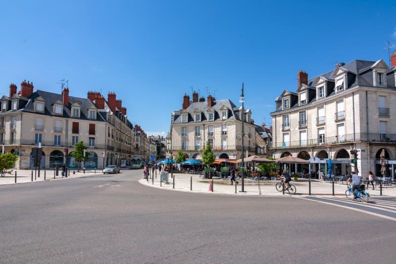 布卢瓦-小镇街道在卢瓦尔谷,法国 库存照片