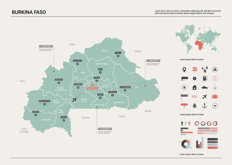 布基纳法索映射向量 与分裂、城市和首都瓦加杜古的高详细的国家地图 政治地图,世界地图, 库存例证