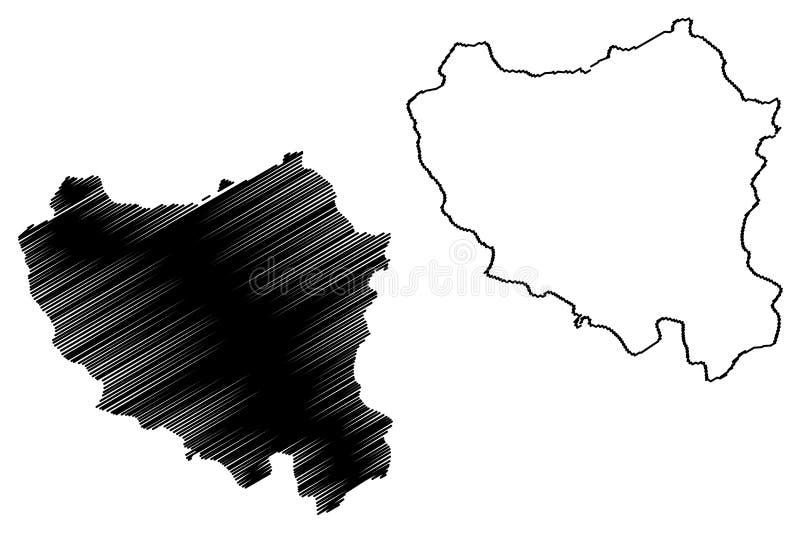 布基纳法索,布基纳法索的中北大区地区地图传染媒介例证,杂文剪影中心诺德地图 库存例证