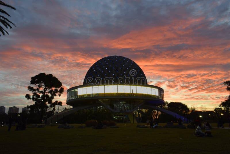 布宜诺斯艾利斯的天文馆在巴勒莫,接近的看法 库存图片
