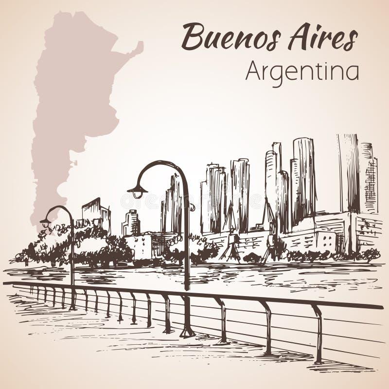 布宜诺斯艾利斯都市风景沿海岸区 阿根廷 草图 皇族释放例证