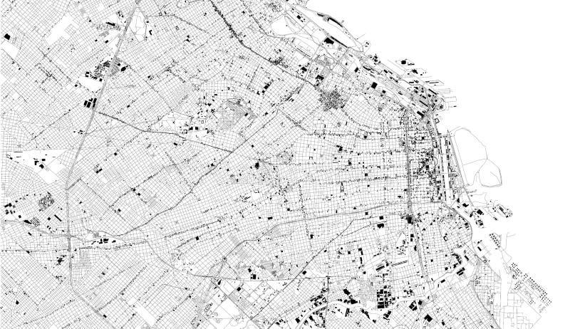 布宜诺斯艾利斯,阿根廷,城市街道卫星地图  向量例证