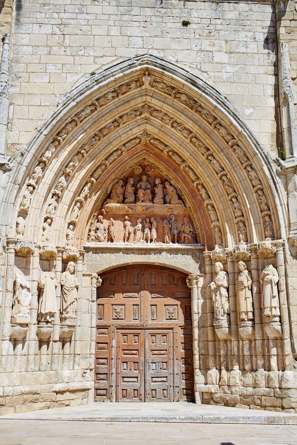 布尔戈斯圣埃斯特万教会门面卡斯蒂利亚西班牙 免版税图库摄影