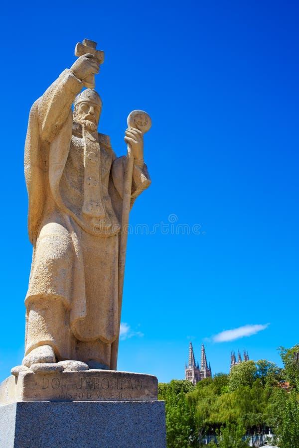 布尔戈斯圣巴勃罗在Arlanzon河的桥梁雕象 免版税图库摄影