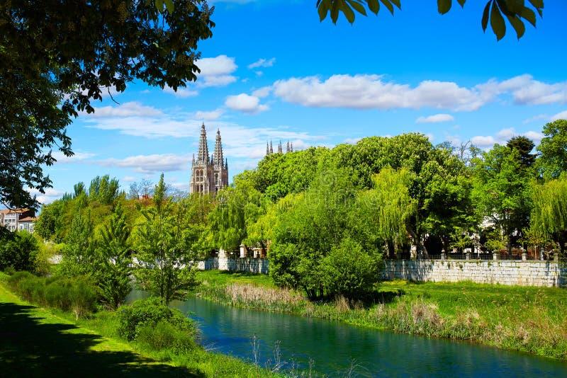 布尔戈斯Arlanzon河在卡斯蒂利亚利昂西班牙 免版税库存图片