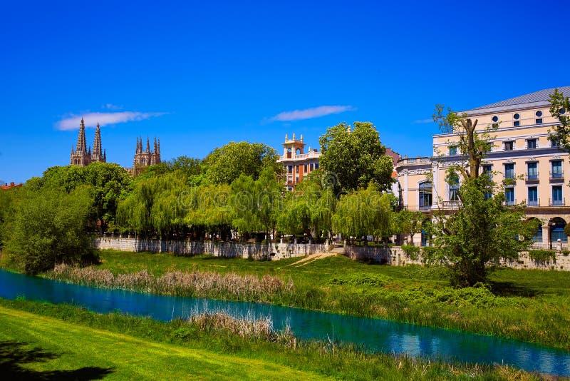 布尔戈斯Arlanzon河在卡斯蒂利亚利昂西班牙 免版税库存照片