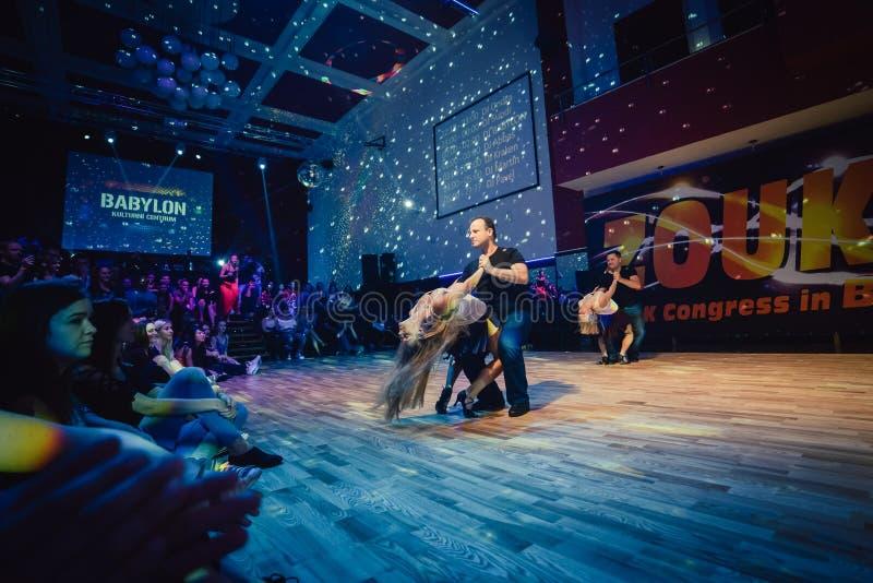 布尔诺,捷克- 2017年2月5日:由有天才的舞蹈家的巴西舞蹈展示 免版税库存照片