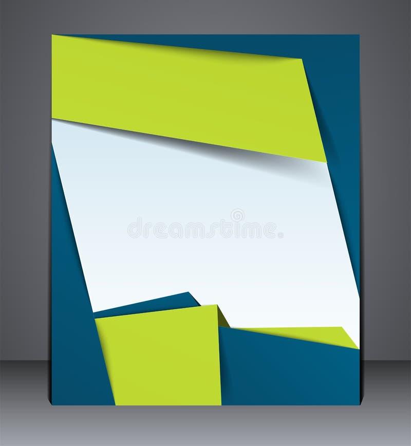 布局企业小册子、杂志封面或者公司设计模板广告在绿色与蓝色 库存例证