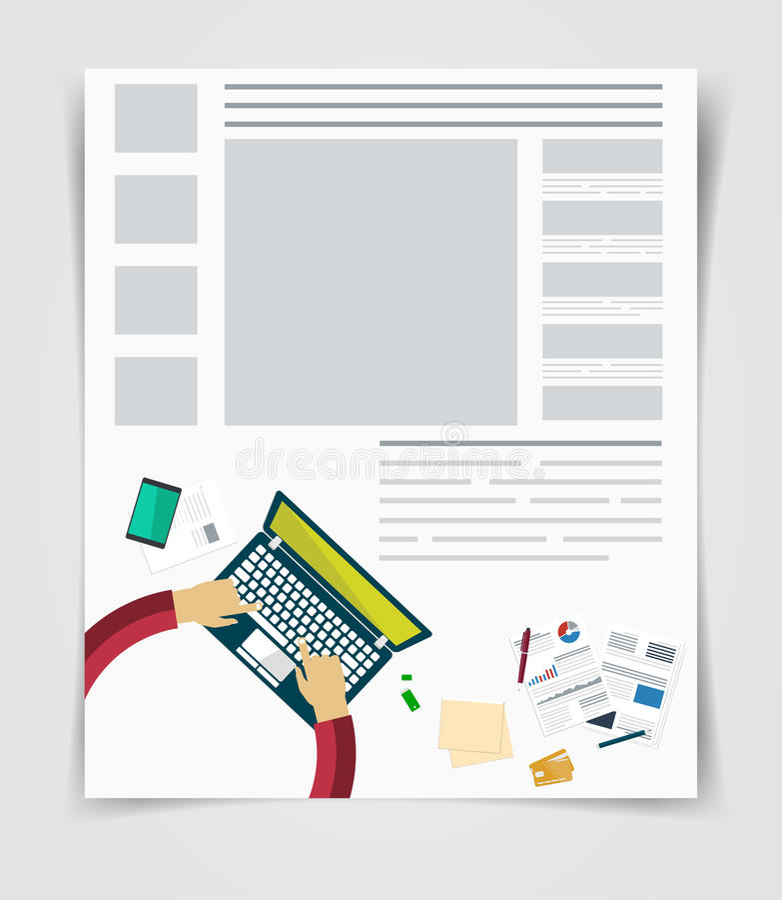布局企业飞行物或小册子技术,网模板, infographics统计 库存例证