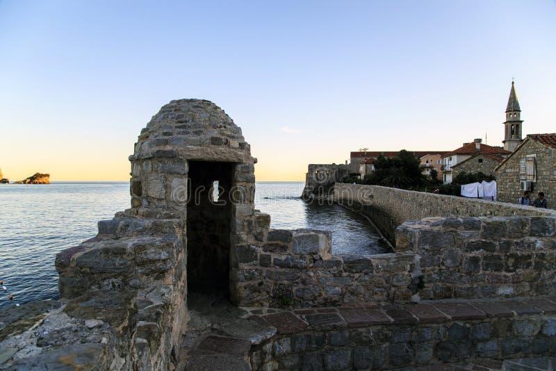 布德瓦,黑山堡垒墙壁  库存图片