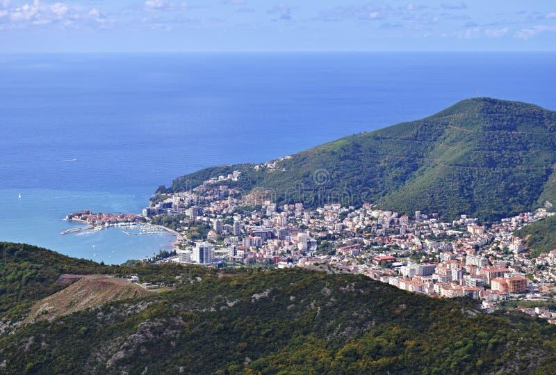 布德瓦,从城市上的黑山 免版税库存图片