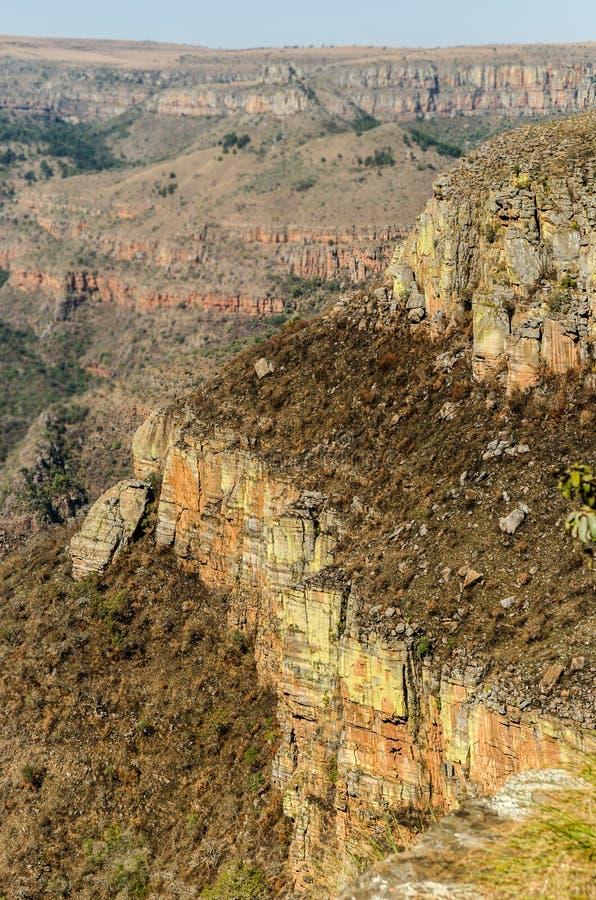 布拉德河峡谷;在Graskop附近的普马兰加省 非洲著名kanonkop山临近美丽如画的南春天葡萄园 库存照片