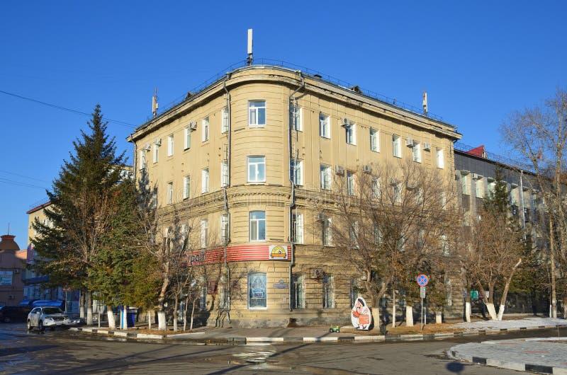 布拉戈维申斯克,俄罗斯, 2017年10月, 21日 F的继承人的房子 P Slavinskiy 修造在1890年 库存照片