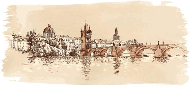 布拉格全景。 查尔斯桥梁视图  皇族释放例证